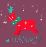 Cartolina d'auguri rossa della renna Immagine Stock Libera da Diritti