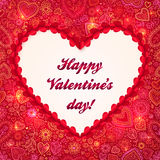 Cartolina d'auguri rossa di giorno di biglietti di S. Valentino del blocco per grafici del cuore Immagine Stock Libera da Diritti