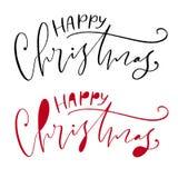 Cartolina d'auguri scritta a mano di festa di Natale Modello stampabile di citazione Illustrazione calligrafica di vettore Natale illustrazione di stock
