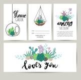 Cartolina d'auguri succulente della pianta, invito Fondo di vettore del fiore Immagine Stock Libera da Diritti