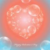 Cartolina d'auguri sul San Valentino con cuore brillante illustrazione di stock