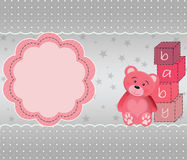 Cartolina d'auguri sveglia con l'orso di orsacchiotto Immagini Stock Libere da Diritti