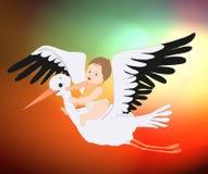 Cartolina d'auguri sveglia sveglia del ragazzo di saluto della cicogna e del bambino, cicogna, illustrazione del bambino del bamb illustrazione vettoriale