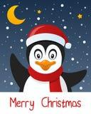 Cartolina d'auguri sveglia di Natale del pinguino Fotografia Stock Libera da Diritti
