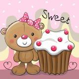 Cartolina d'auguri Teddy Bear con il dolce Fotografie Stock