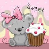Cartolina d'auguri Teddy Bear con il dolce Immagini Stock Libere da Diritti