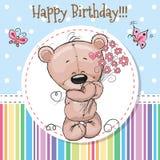 Cartolina d'auguri Teddy Bear sveglio Illustrazione Vettoriale