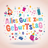 Cartolina d'auguri tedesca di buon compleanno di Geburtstag Deutsch di zum di Alles Gute Fotografia Stock Libera da Diritti