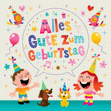 Cartolina d'auguri tedesca di buon compleanno di Geburtstag Deutsch di zum di Alles Gute Fotografie Stock Libere da Diritti