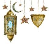 Cartolina d'auguri tradizionale dell'acquerello con l'arabo Immagine Stock Libera da Diritti
