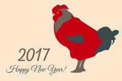 Cartolina d'auguri variopinta del nuovo anno di 2017 vettori con il gallo Fotografie Stock Libere da Diritti