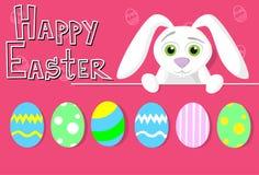 Cartolina d'auguri variopinta dell'insegna di festa di Bunny Painted Eggs Happy Easter del coniglio Fotografia Stock