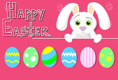 Cartolina d'auguri variopinta dell'insegna di festa di Bunny Painted Eggs Happy Easter del coniglio Fotografie Stock Libere da Diritti