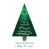 Cartolina d'auguri verde dell'albero di Natale Fotografie Stock Libere da Diritti