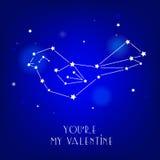 Cartolina d'auguri voi ` con riferimento al mio biglietto di S. Valentino con l'uccello della costellazione e della stella Fotografia Stock