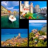 Cartolina del collage di Lago di Garda Immagini Stock