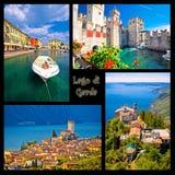 Cartolina del collage di Lago di Garda Fotografia Stock