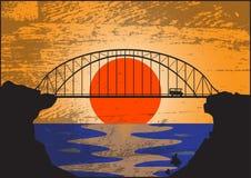 Cartolina del ponte (Grunged) Fotografie Stock Libere da Diritti