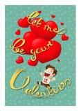 Cartolina del ragazzo del biglietto di S. Valentino royalty illustrazione gratis