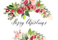 Cartolina dell'acquerello di Natale fotografia stock