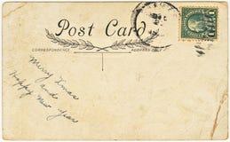 Cartolina dell'annata con il saluto di natale Fotografie Stock Libere da Diritti