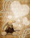 Cartolina dell'annata con un coniglio del giocattolo illustrazione vettoriale