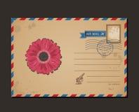 Cartolina dell'annata e francobolli Fiore di progettazione Fotografia Stock Libera da Diritti