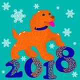 Cartolina dell'illustrazione, cane arancio, simbolo dell'anno, inscripti illustrazione di stock