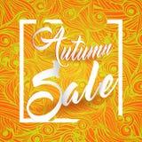 Cartolina di Autumn Sale Lettering Seasonal Banner Fotografia Stock Libera da Diritti