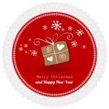 Cartolina di Buon Natale con pizzo rosso su un fondo bianco illustrazione vettoriale