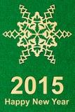 Cartolina di carta strutturata d'annata del nuovo anno con carta Immagine Stock