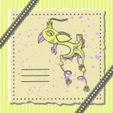 Cartolina di festa con un uccello favoloso Immagini Stock Libere da Diritti