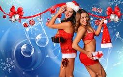 Cartolina di festa degli assistenti di Santa sexy Fotografia Stock