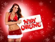 Cartolina di festa dell'assistente di Santa sexy Immagini Stock