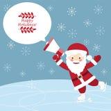 Cartolina di hristmas del ¡ di Ð con Santa Claus divertente che pattina e che tiene a Fotografia Stock