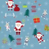 Cartolina di hristmas del ¡ di Ð con Santa Clauses divertente, coniglietti, uccelli e Fotografia Stock