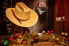 Cartolina di Natale ad ovest americana del cappello da cowboy del rodeo Immagini Stock Libere da Diritti