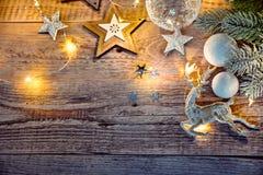 Cartolina di Natale al bordo d'annata anziano Fotografie Stock Libere da Diritti