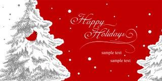 Cartolina di Natale alla moda con il cardinale Bird Fotografia Stock
