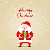 Cartolina di Natale allegra con il Babbo Natale Fotografia Stock Libera da Diritti
