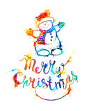 Cartolina di Natale allegra con il pupazzo di neve royalty illustrazione gratis