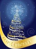 Cartolina di Natale allegra con l'albero di Natale e le stelle royalty illustrazione gratis