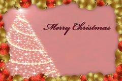Cartolina di Natale allegra con l'albero glittery Fotografia Stock