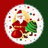 Cartolina di Natale allegra con Santa Fotografie Stock Libere da Diritti