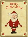 Cartolina di Natale allegra con Santa Immagini Stock Libere da Diritti