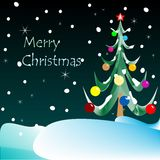 Cartolina di Natale allegra (visione notturna) Immagini Stock Libere da Diritti