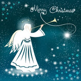Cartolina di Natale Angelo e le stelle scintillanti nel cielo notturno Fotografie Stock Libere da Diritti