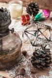 Cartolina di Natale antiquata d'annata Fotografia Stock Libera da Diritti