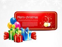 Cartolina di Natale astratta con il contenitore di regalo Fotografia Stock