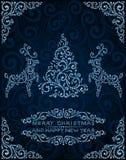 Cartolina di Natale astratta con il pino ed i cervi Immagine Stock Libera da Diritti